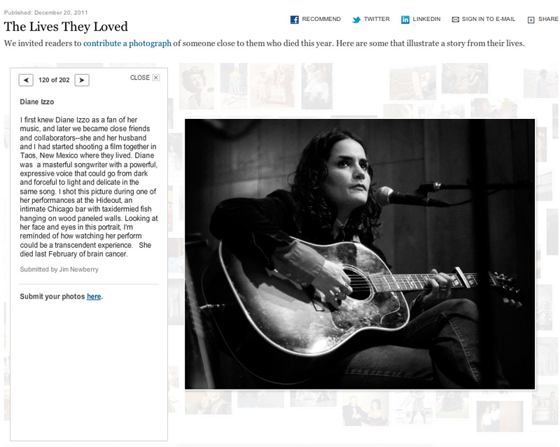 """Diane Izzo in the New York Times feature, """"Lives They Loved."""" Photo by Jim  Newberry."""