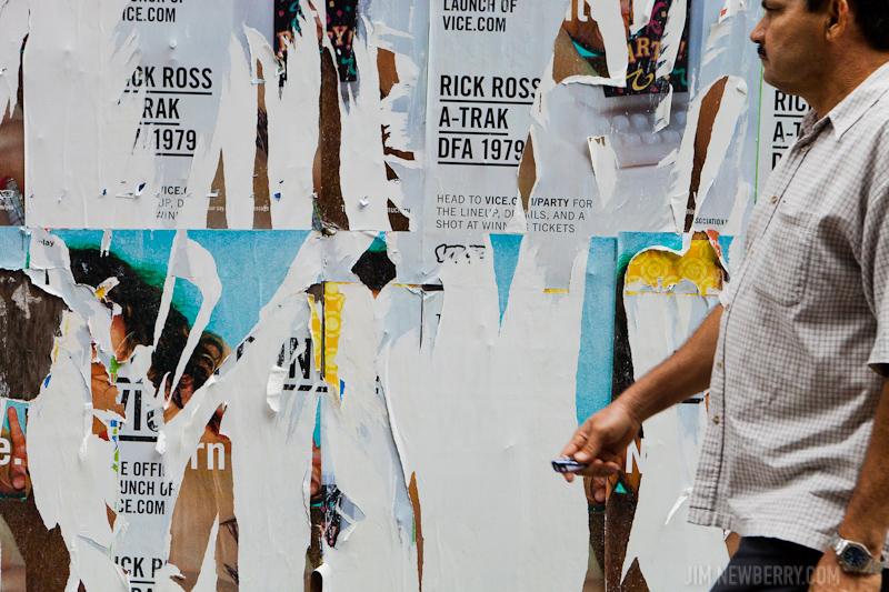 Peeling billboard advertisements in New York City. Photo by Jim Newberry.