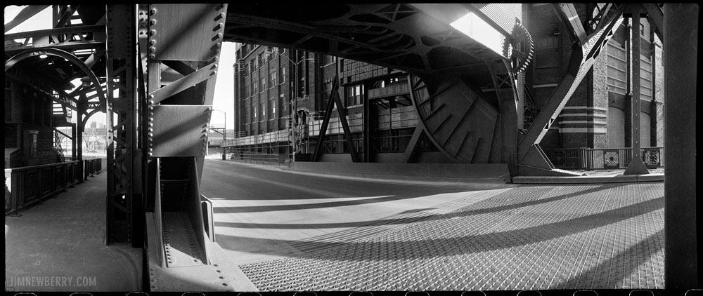 Bridge at Cermak and Canal. Shot with a Widelux camera by Jim Newberry.