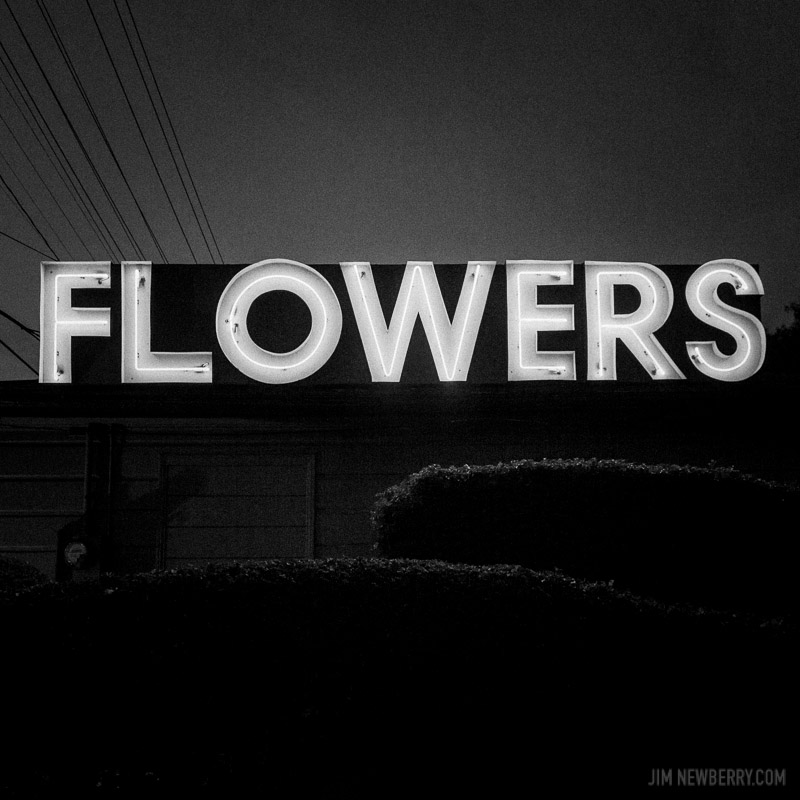 "Neon sign that says ""Flowers."" Feliz, Los Angeles. Photo by Jim Newberry."