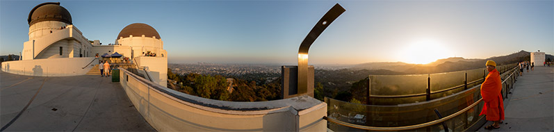 Interactive 360° panoramic photo of the Griffith Observatory in Los Angeles, CA. Photo by Jim Newberry.