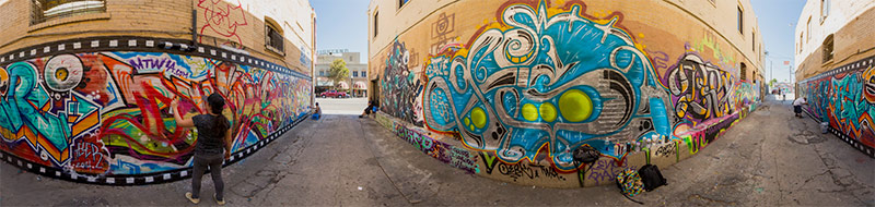 360° panoramic photo of Graffiti murals in Highland Park, Los Angeles, by  Jim Newberry.