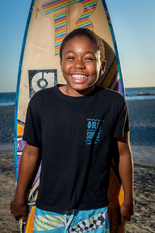 Surfer Greg Jr. at Venice Beach in Los Angeles. Photo by Jim Newberry.