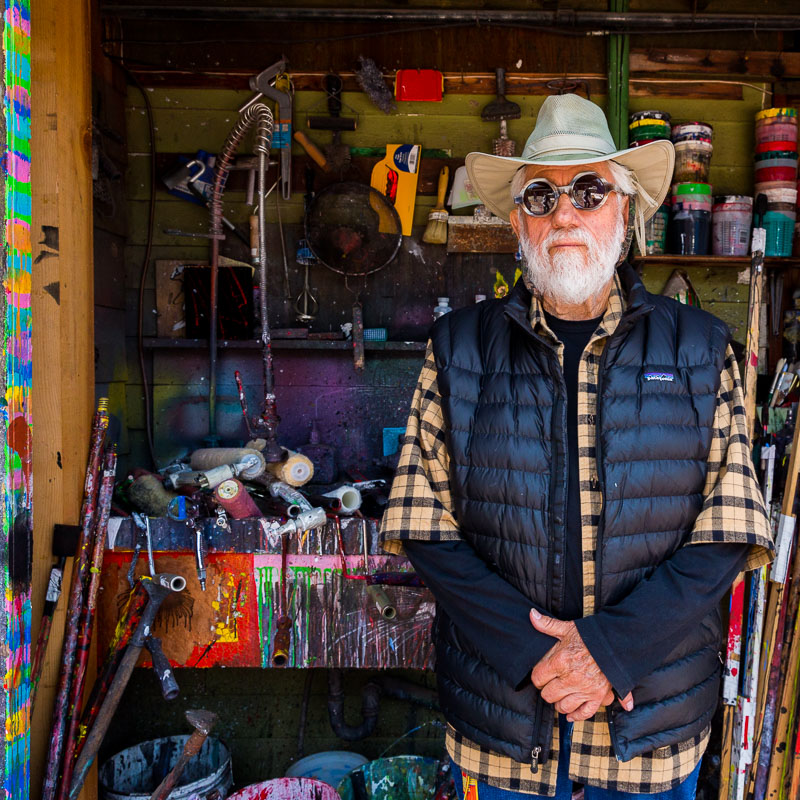 West Coast artist Ed Moses at his studio in Venice, Los Angeles. Photo by Jim Newberry.
