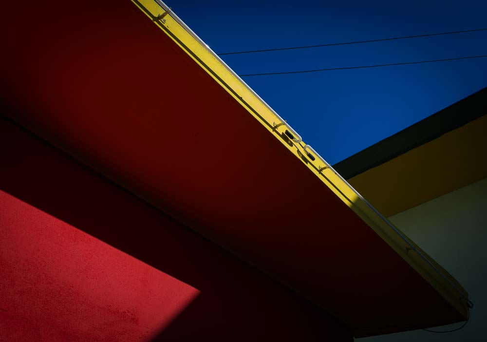 Primary colors, architectural detail and blue sky. Photo by Jim Newberry.