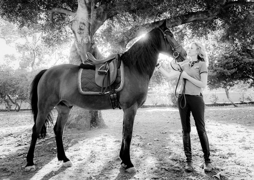 Alexa and her horse Dragon, at the Los Angeles Equestrian Center in Burbank, California.